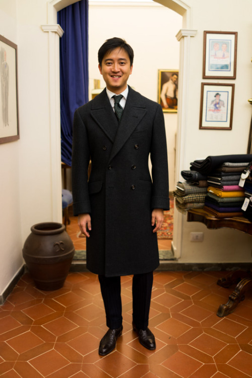 thearmoury:  Alan in Taka's coat. Possibly the most splendid, magnificent, amazing coat of all time, ever.