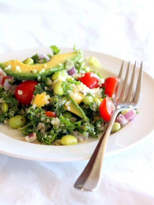 veganrecipecollection:  (via Kale, Edamame, and Quinoa Salad with Lemon Vinaigrette | Ambitious Kitchen)