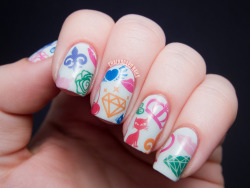 "chalkboardnails:  Multicolored Collage Nail Art bigRuby ""Hers"" Nail TattoosOPI My Boyfriend Scales Walls"