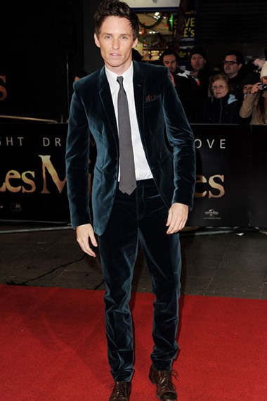 Most Stylish of the Week  Eddie Redmayne suited up in velvet teal Burberry Prorsum to the Les Misérables premiere in London. Hard not to crush on this look.