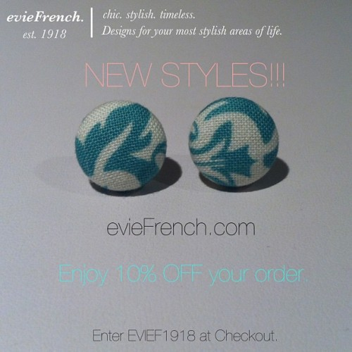 New styles at evieFrech.com!!! Enjoy 10% OFF your purchase! Enter EVIEF1918 at checkout. @evieFrench #eviefrench #french #style #fashion #discount #grandopening #sale #luxury #handmade #boutique #pretty #cute #love #buy #shop #jewelry #accessories #earrings #damask #print #mint #summer #cali #losangeles #la #new
