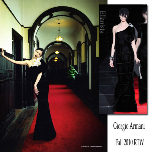 Du Juan in Giorgio Armani one-shoulder gown inside Numéro China.