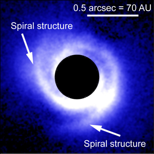 Spiral Disk Structure May Reveal Planets An international team of astronomers has used HiCIAO (High Contrast Instrument for the Subaru Next Generation Optics) to observe a disk around the young star SAO 206462. They succeeded in capturing clear, detailed images of its disk, which they discovered has a spiral structure with two clearly discernable arms. On the basis of their observations and modeling according to spiral density wave theory, the team suspects that dynamic processes, possibly resulting from planets in the disk, may be responsible for its spiral shape. This research may provide the basis for another indirect method of detecting planets. Continue Reading