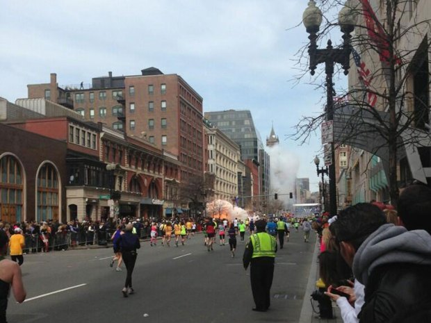 "nationalpost:  Two explosions at Boston Marathon finish line injure dozens: reportsTwo explosions at the finish line of the Boston Marathon have resulted in injuries.Bloody spectators were being carried Monday to the medical tent that had been set up to care for fatigued runners. Police wove through competitors as they ran back toward the course.""There are a lot of people down,"" said one man, whose bib No. 17528 identified him as Frank Deruyter of North Carolina. He was not injured, but marathon workers were carrying one woman, who did not appear to be a runner, to the medical area as blood gushed from her leg. A Boston police officer was wheeled from the course with a leg injury that was bleeding."