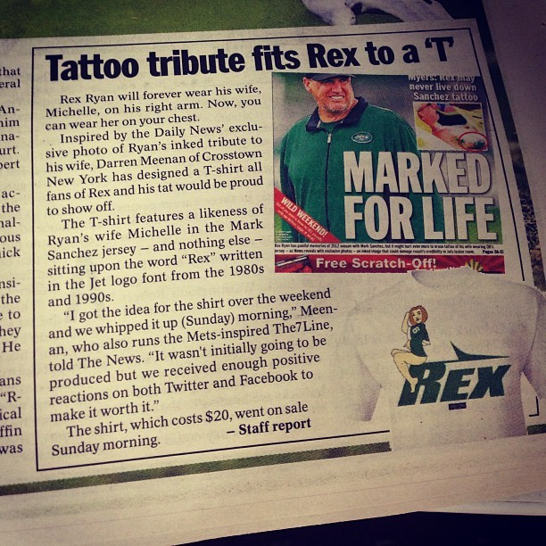 #Rex Tattoo shirt has its own article.  #jets