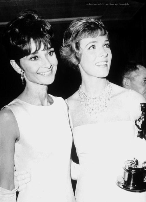 whatwouldcarriesay:  Audrey Hepburn and Julie Andrews in 1964.
