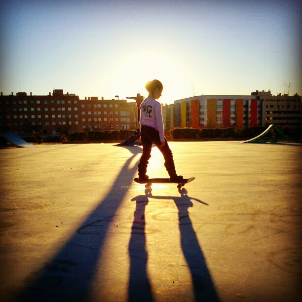Little Pink Skateboarder (at Skatepark Vallecas)