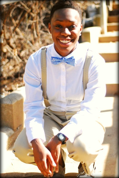 Bow tie: JC Penny, Men's Dept.Shirt: Calvin Klein, Thrifted, Women's Dept.Pants and suspenders: Forever 21 Women's Dept.Shoes: Forever 21 Women's DeptWatch: Neff purchased from Tilly'sEarrings: Family heir-loom  Submitted by: toofineand-dandy.tumblr.com Submit to Qwear!