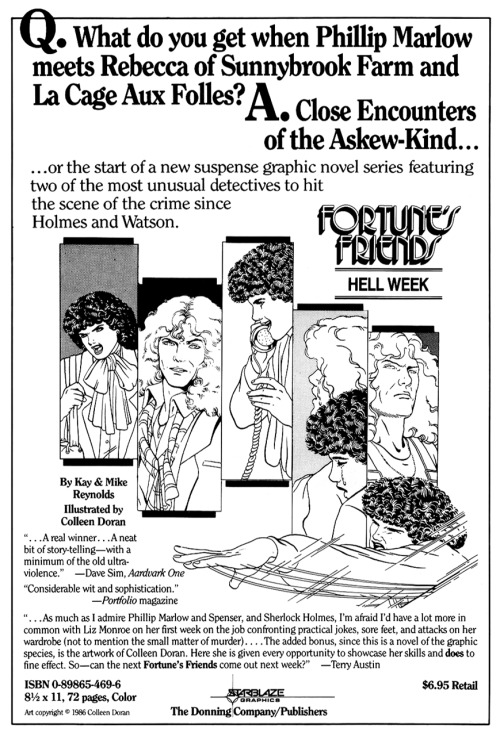 Promotional ad for Fortune's Friends: Hell Week by Kay Reynolds, Mike Reynolds, and Colleen Doran, 1987.