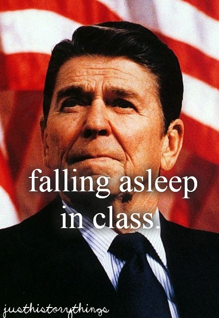 justhistorythings:  (Allegedly, Reagan would fall asleep during Cabinet meetings.)