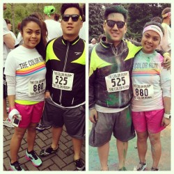 Before & after #thecolorrun #5K with @sncrbrn. Race number 5 of 2013, complete! ☺ #phatlipruns