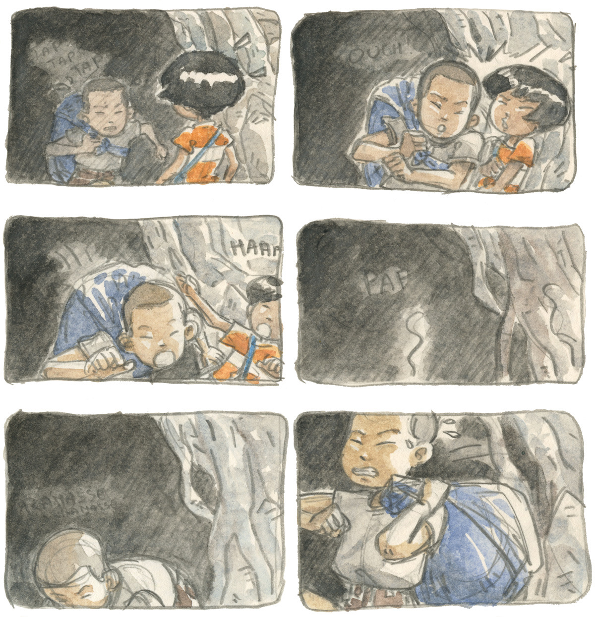 Storyboard from The Coral Cave.It's one of the first sequences of the story. Mizuka meets a wandering kid who will lead her to a mysterious world.