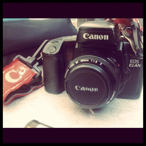 Welcome to the family. I call it Frankenstein. #canon #eos #elan #film #oldvsnew #35mm #photography #art207 #art #photo