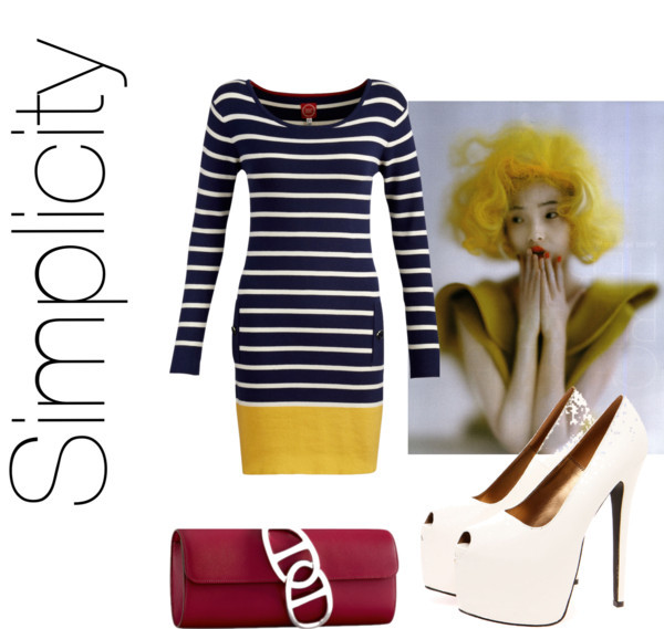 Untitled #376 by amandaking49 featuring bow heelsJoules striped dress, $105 / Bow heels