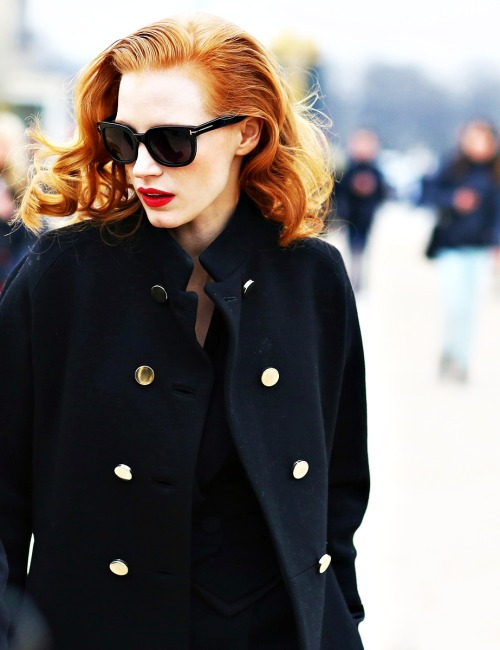 Jessica Chastain at the Viktor & Rolf Fall 2013 show during Paris Fashion Week, March 2nd.