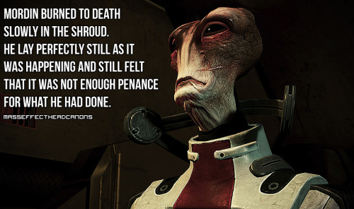 """Mordin burned to death slowly in the Shroud. He lay perfectly still as it was happening and still felt that it was not enough penance what he had done."" Submitted by godosomethingproductive"