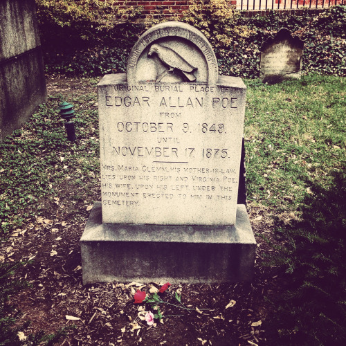 Edgar Allan Poe original grave site in Baltimore.