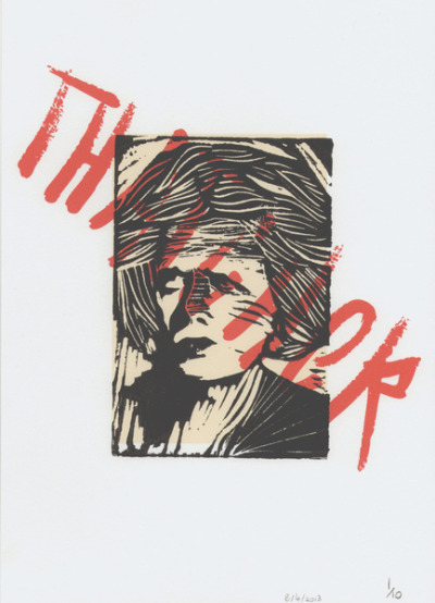harbourpark:  Thatcher, hand printed lino cut piece!.  whats up web, this is my new blog that will be pretty much just for my own images!.