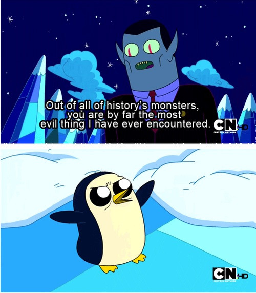 I love this show. It's got penguins.  On another note, I started up a personal tumblr a while back. If you guys want to check out my boring antics, it's http://ifwefoundirony.tumblr.com