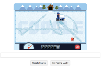 Great Google homepage. The game revolves around you, the zamboni driver, and a bunch of kids messing up your ice. Damn kids! Just in time for the first real good snow fall in my area this season.