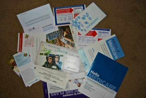 Overwhelming amount of junk mail for medicare insurance.  Photo by David Schlick   5/14/13