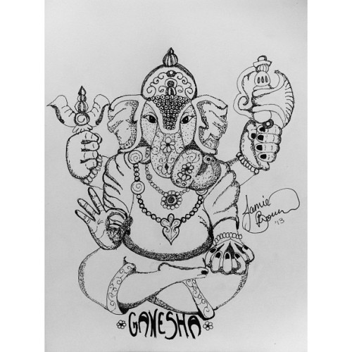 Sketched up this little gem today Ganesha or Lord Ganesh if you prefer black fine tip on sketch paper.