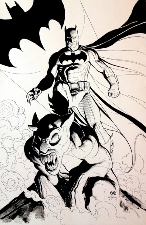 Batman on gargoyle, by Cho.
