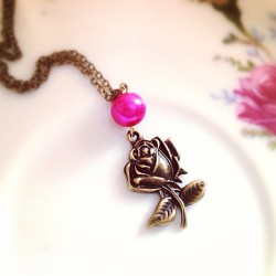 goodnight :) #rose #beautyandthebeast #etsy #necklace #jewelry #handmade #mintmarbles #fashion