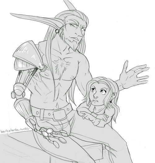 moss the monk nelf and lionbreath the warrior gnome. he lost his arm to a dragon, so she made him a new one. I reused their names for dragondove characters, ignoring that I might want to draw the originals again. oh…