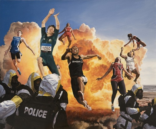 "artchipel:  Caleb Brown - Sports Explosion. Oil on Canvas, 30"" X 25"" (2009)"