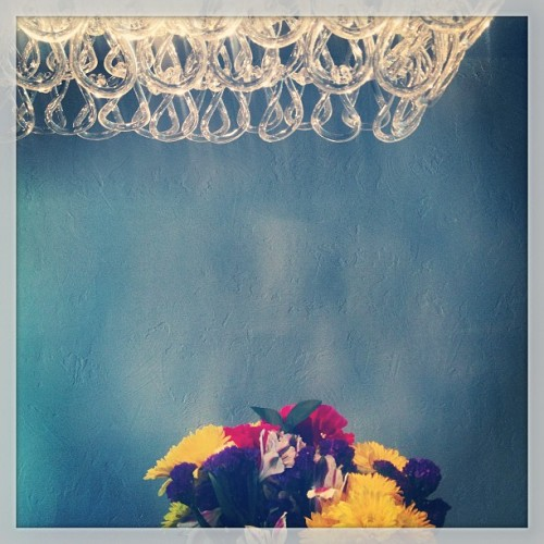 Mutual admiration society. #design #glass #fixture #flowers #blue #color