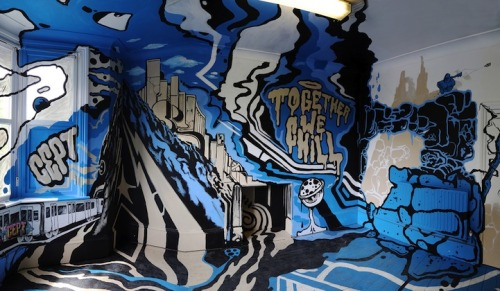 cjwho:  Surreal Street Art Explodes Inside a London Room during the Dulwich Festival  Just wrapped up in London was the Dulwich Festival, an event that brought together the biggest names in street art to create huge murals inspired by classic works found in England's oldest art gallery, the Dulwich Picture Gallery. Old Masters like Rembrandt van Rijn, Nicholas Poussin and Giovanni Battista Tiepolo were given a special homage as the current leaders in street art remixed their esteemed predecessors' works. For nine days, visitors flocked to south London to see how contemporary street art and classical art could combine to create something groundbreaking.