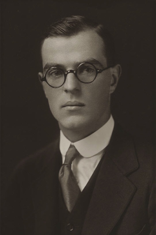 Thornton Wilder, age 23, 1920, from his Yale graduation photograph. This author and playwright was introduced  to his close friend and supposed lover Samuel Seward by Gertude Stein. His homosexuality was never disclosed publicly and he died after living with his sister for many years.  Submitted by maximoperesonorus