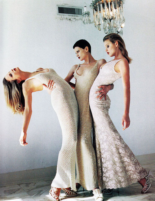 supermodelgif:  Eva Herzigova, Kristen McMenamy & Rachel Williams by Helmut Newton for Vogue US January 1993