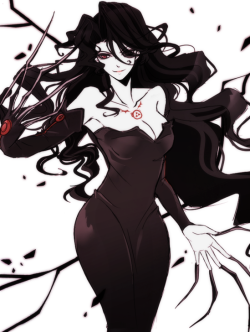 sokak:  1girl, black hair, breasts, claws, cleavage, dress, fingernails, fkfkfkfkrhdm, fullmetal alchemist, homunculus, long fingernails, long hair, lust, ouroboros, red eyes, solo, tattoo - Danbooru