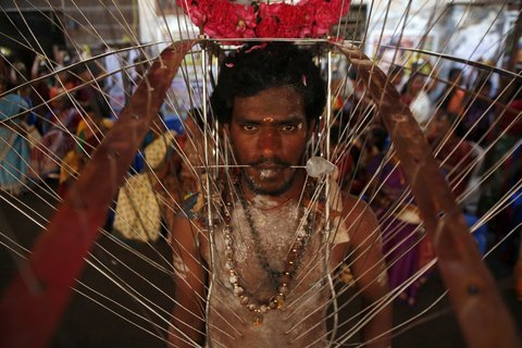 """A Hindu devotee, with his body pierced with skewers, participating in a religious procession during the festival of Panguni Uthiram in Chennai, Tamil Nadu."""