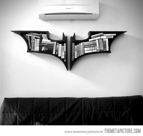 storagegeek:  Batman logo bookcase. Do I really need to say more?