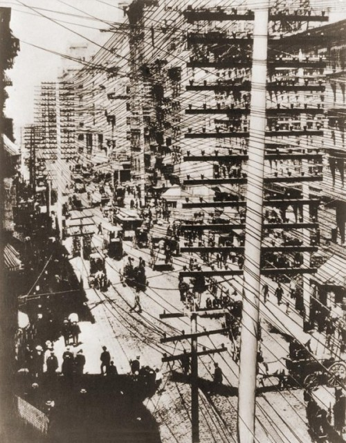 Telephone Wires over New York, c. 1887-1888