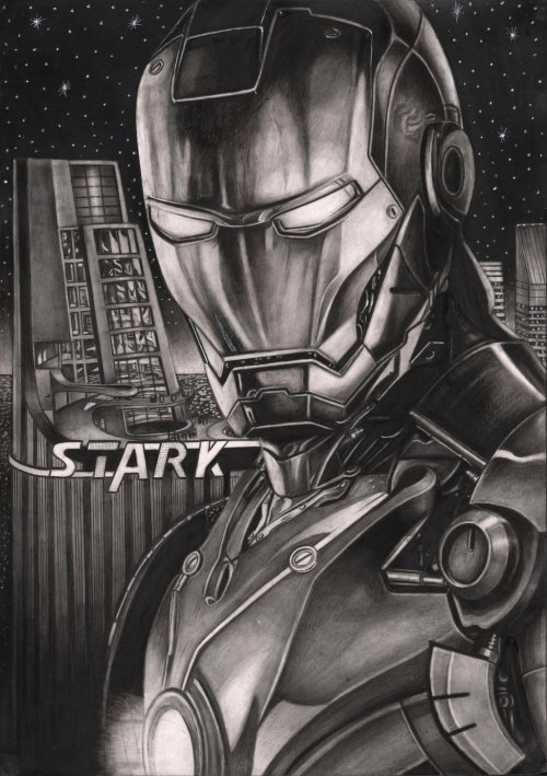herochan:  Iron Man Graphite Drawing Created by Pen-Tacular-Artist