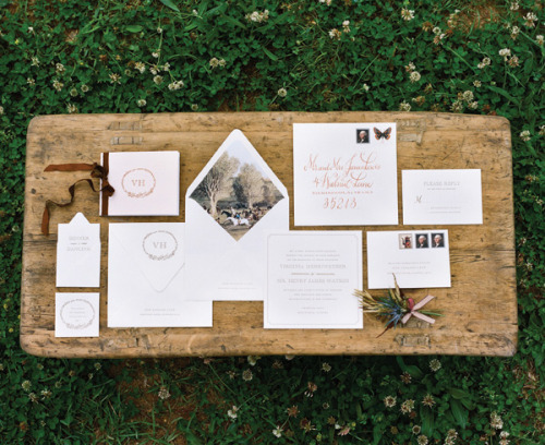 rustic invitation suite with equestrian envelope liner by Holly Hollon
