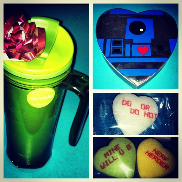 More valentines surprises! A new leak-proof travel mug and Star Wars heart candies. I hate those candies, so I'll never eat them, but the box is so cool and they all say hilarious Star Wars themes phrases… @salleyboballey spoils me. I love her, she's just great. #starwars #love #salley