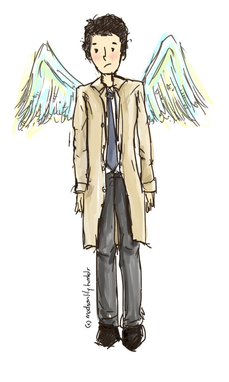 First drawing with my new tablet :D Cas from Supernatural because l just started watching season 4 and l've been waiting for him to come in for so long lol
