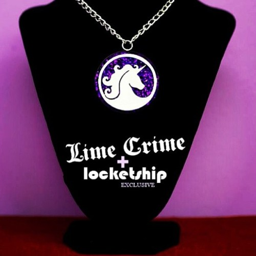AVAILABLE NOW! Get the exclusive Lime Crime 💜 Locketship Sparkling Unicorn Necklace at www.limecrimemakeup.com $24.99 #limecrime #locketship #unicorn #necklace #glitter #handmade #pendant