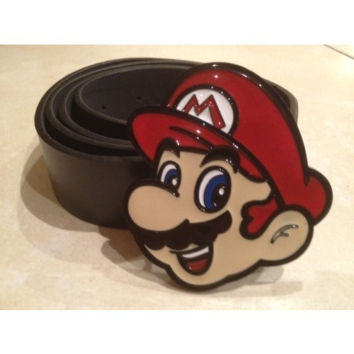 Mario Face Metal Buckle with Free Belt Super Mario Bros Nintendo Gamer…   (clipped to polyvore.com)