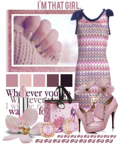 I'm That Girl by queenrachietemplateaddict featuring pink bootsSlimming dress / Pink boots / Pier 1 Imports floral bag / Lip stick