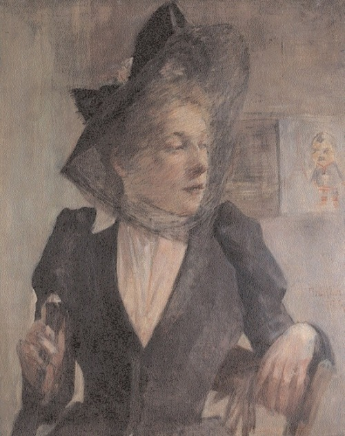János Thorma - Woman in veiled hat (early 1890s)