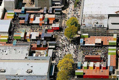 In the wake of the quake that levelled much of Christchurch, New Zealand, this pop up mall made of shipping containers has become a new community retail centre.  Dreamed as a temporary fix, its popularity is ensuring it a more permanent place in rebuilt Christchurch.