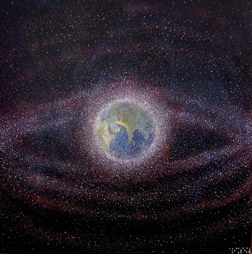"Alizey Khan | on Tumblr - Space Debris. Acrylic on canvas, 30""x30"" (2011)"