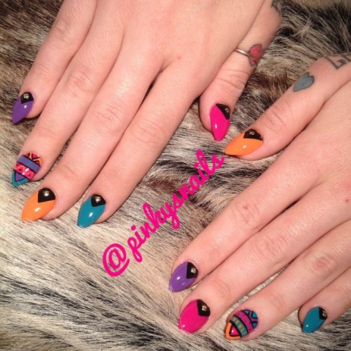 pinkysnails:  Aztec studded stiletto gels on @phoebedykstra by @marissiasmith … Think she's cute on tv? You should meet her in person ;) #nailart #toronto #muchmusic