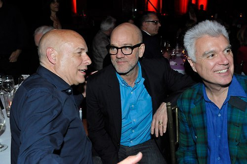 La trinità (Brian Eno, Michael Stipe and David Byrne at The Kitchen's gala benefit for Eno in New York on May 7, 2013 - by R.E.M. Fans United)